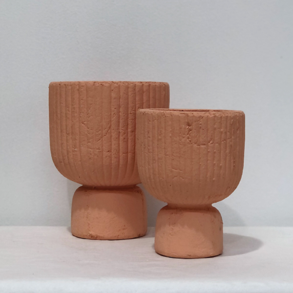Ribbed-Peach-Vase